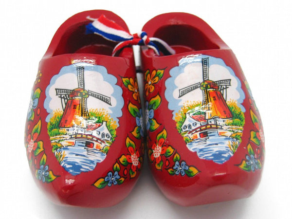 "Decorative Wooden Shoe Clogs Dutch Landscape Design Red (4"") - GermanGiftOutlet.com"