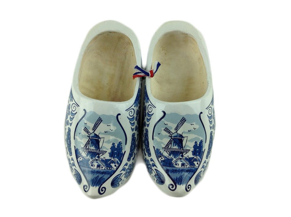 "Decorative Wooden Shoe w/ Dutch Landscape Design Blue & White Design 4.25"" - GermanGiftOutlet.com  - 1"