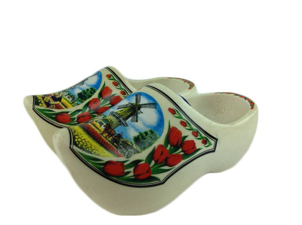 "Wooden Shoe Clogs Dutch Windmill and Tulips Design-7"" - GermanGiftOutlet.com  - 1"