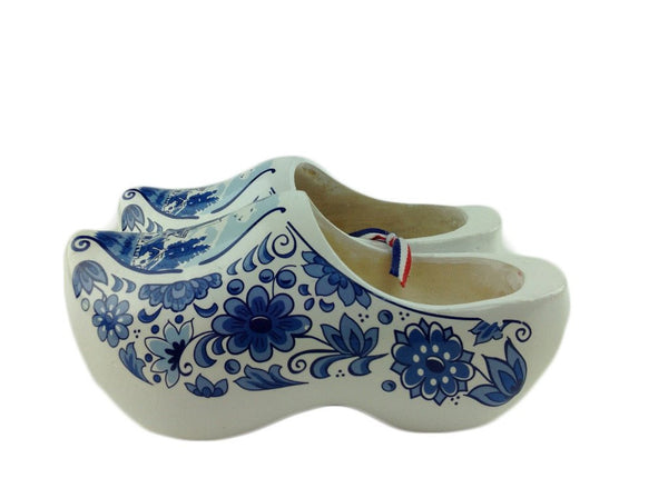 "Wooden Shoe Clogs Dutch Windmill Blue and White Design-6.5"" - GermanGiftOutlet.com  - 1"