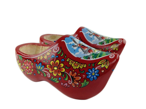 "Wooden Shoe Clogs Dutch Windmill Red Design-6.5"" - GermanGiftOutlet.com  - 1"