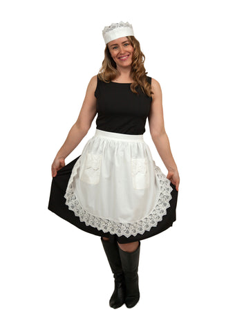 """Maid Costume"" White Lace Headband and Adult Lace Apron Costume Set - GermanGiftOutlet.com - 4"