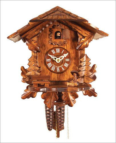 German Black Forest 1-Day German Cuckoo Clock with Leaves and Trees - GermanGiftOutlet.com