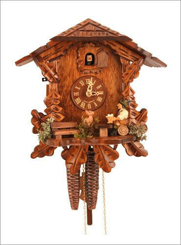Black Forest 1 day Chalet Style German Cuckoo Clock with Beer Drinker - GermanGiftOutlet.com