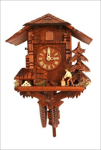 Black Forest 1 day Chalet Style German Cuckoo Clock with Woodchopper - GermanGiftOutlet.com