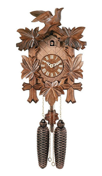 "13"" Tall Five Leaves One Bird 8 Day Authentic Hand-Carved German Cuckoo Clock - GermanGiftOutlet.com"