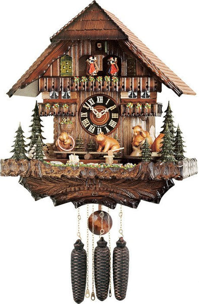 River City Eight Day Musical German Cuckoo Clock with Bears Revolving Seesaw - GermanGiftOutlet.com