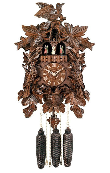 River City Clocks Eight Day Musical German Cuckoo Clock with Leaves Birds and Nest - GermanGiftOutlet.com