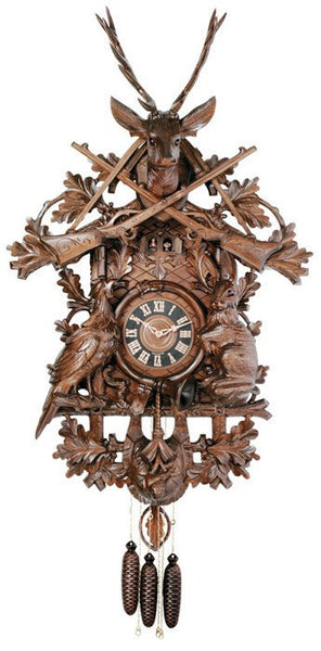 River City Clocks Eight Day Musical German Cuckoo Clock with Hunter and Live Animals - GermanGiftOutlet.com