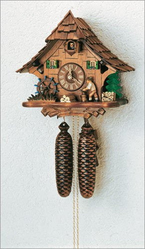 "Schneider 11"" Black Forest Wood Chopper with Water Wheel German Cuckoo Clock - GermanGiftOutlet.com  - 1"
