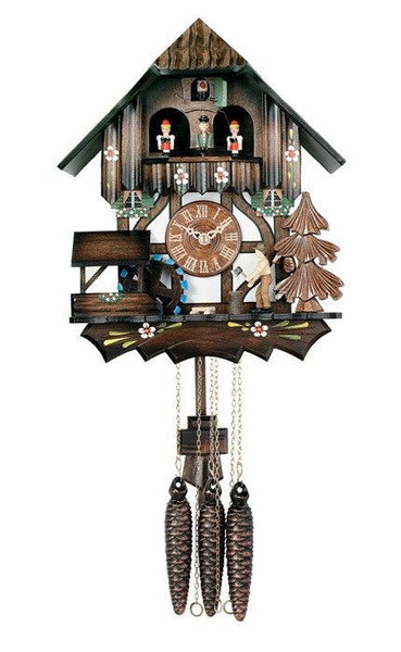 "River City Clocks One Day 12"" Chalet Woodchopper and Dancers German Clock - GermanGiftOutlet.com  - 1"
