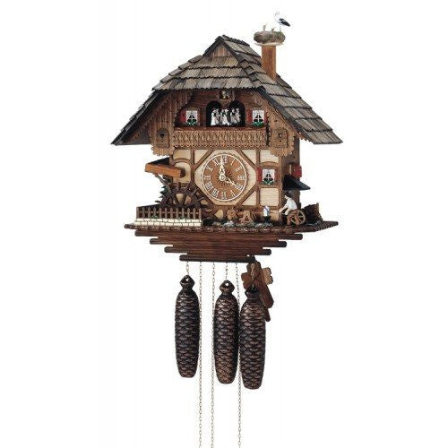 Eight Day Musical Cuckoo Clock - Blacksmith Swinging Hammer & Moving Waterwheel - GermanGiftOutlet.com
