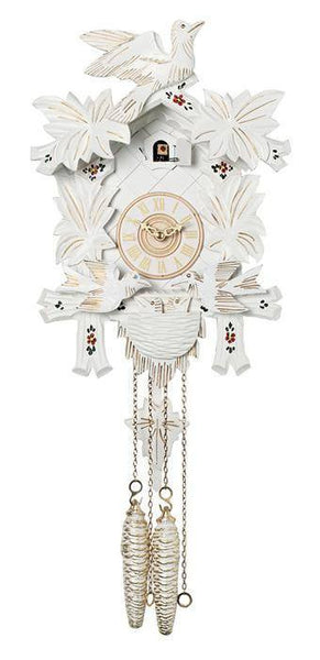 River City Clocks One Day Moving Birds German Cuckoo Clock with White Finish - GermanGiftOutlet.com