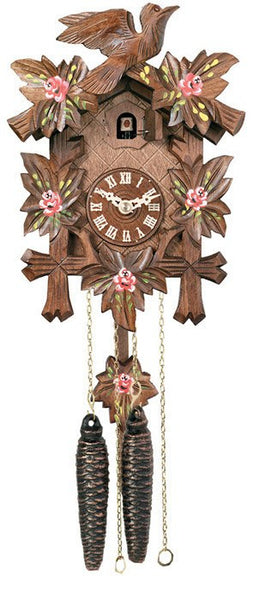"Five Leaves, One Bird and Painted Roses One Day Authentic German Cuckoo Clock. 9"" Tall - GermanGiftOutlet.com  - 1"