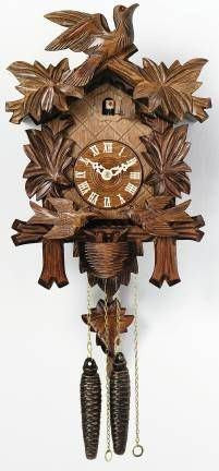 "One Day Cuckoo Clock with Carved Maple Leaves & Moving Birds-13"" Tall - GermanGiftOutlet.com  - 2"