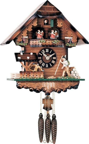 River City Clocks One Day Musical German Cuckoo Clock with Volksmarcher with Moving Staff and Waterwheel - GermanGiftOutlet.com