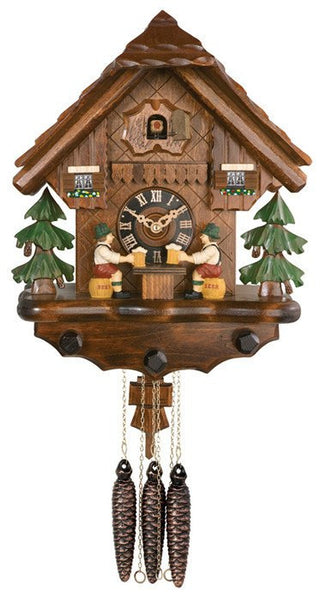 "River City Clocks One Day Musical 14"" German Cuckoo Clock with Two Beer Drinkers Raising Mugs - GermanGiftOutlet.com"