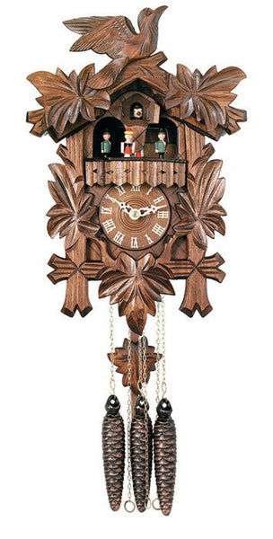 "One Day Musical Cuckoo Clock with Dancers, With Bird & Five Hand-carved Maple Leaves-14"" Tall - GermanGiftOutlet.com"