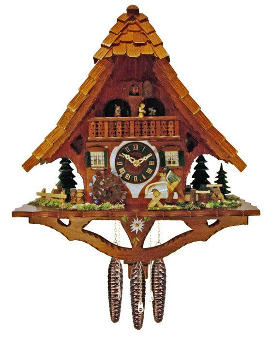 "River City Clocks One Day Musical 17"" German Cuckoo Clock Man Saws Wood - GermanGiftOutlet.com  - 1"