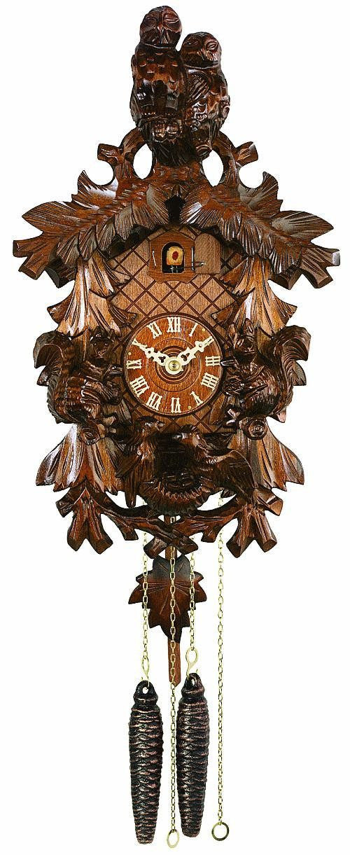 River City Clocks One Day Owls Squirrels and Nest German Cuckoo Clock - GermanGiftOutlet.com