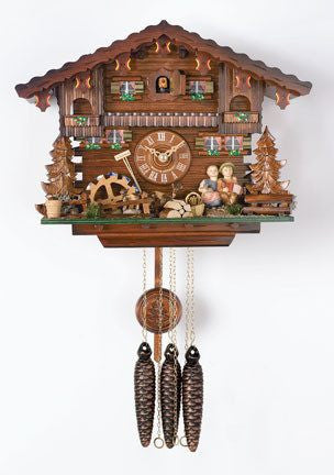 "One Day Musical 11"" German Cuckoo Clock with Kissing Boy and Girl From River City Clocks - GermanGiftOutlet.com"