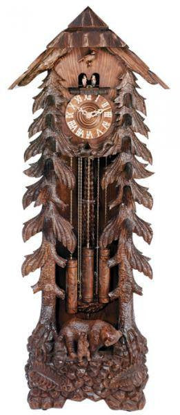 "River City Clocks 82"" Grandfather Clock with Bear Carving - GermanGiftOutlet.com"