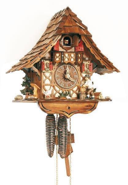"Schneider 11"" Black Forest Wood Chopper and Goose German Cuckoo Clock - GermanGiftOutlet.com"