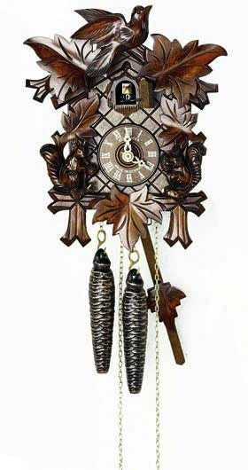 "Schneider Black Forest 12"" with Squirrels German Cuckoo Clock - GermanGiftOutlet.com"