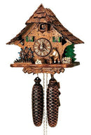 "Schneider 11"" Black Forest Wood Chopper and Water Wheel Eight Day Movement German Cuckoo Clock - GermanGiftOutlet.com"