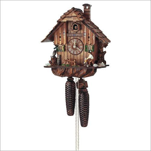 "Schneider 12"" Black Forest Wood Chopper Eight Day Movement German Cuckoo Clock - GermanGiftOutlet.com  - 1"