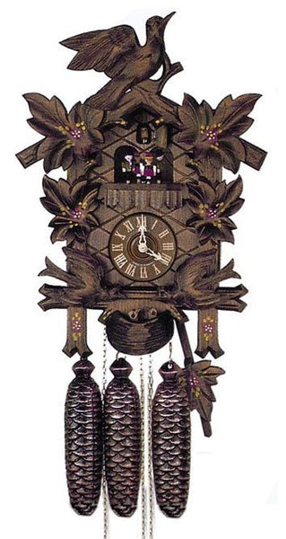 "Schneider Black Forest 17"" Musical Moving Birds and Hand Painted Flowers Eight Day Movement German Cuckoo Clock - GermanGiftOutlet.com"