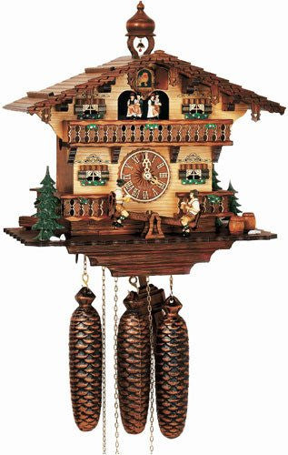 "Schneider German Black Forest 11"" Musical Beer Drinkers on Teeter-totter Eight Day Cuckoo Clock - GermanGiftOutlet.com  - 1"