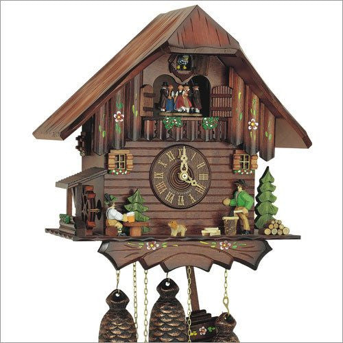 Schneider 13 Inch Wood Chopper and Beer Drinker Eight Day Musical German Cuckoo Clock - GermanGiftOutlet.com  - 1