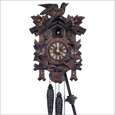 "Schneider Black Forest 12"" Musical Painted Flowers German Cuckoo Clock - GermanGiftOutlet.com"