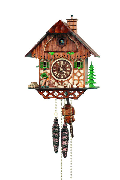 "Schneider 11"" Black Forest Wood Chopper with Pets German Cuckoo Clock - GermanGiftOutlet.com"
