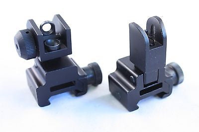 .223 Tactical Front/Rear Flip Up Sights Combo Fits all Picatinny Rails