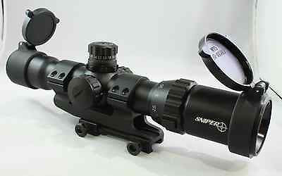 "1-4X28 SNIPER Tactical Scope 5"" Eye Relief Cantilever Mil-Dot Rangefinder Reticl"