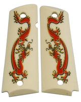 Custom Full Size 1911 Grips Red Dragon on Matte Faux Ivory