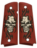 Custom Full Size 1911 Grips Tribal Skull on Red