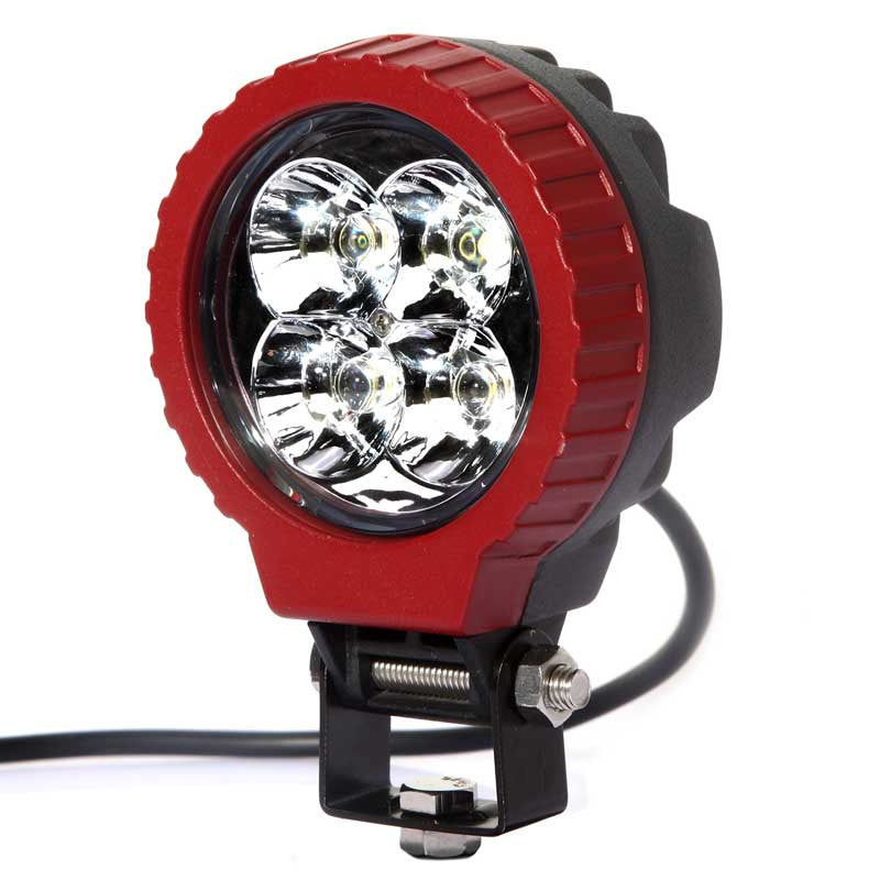 Aftershock Series LED Work Light 3.5inch - 12W - Spot Beam - Black and Red - Warranty Killer Performance