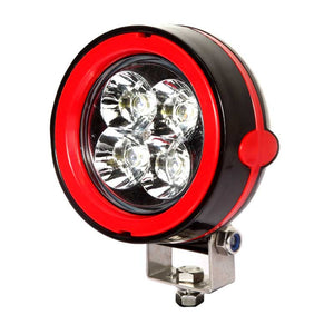 Aftershock Series LED Work Light 4inch - 12W - Spot Beam - Black and Red - Warranty Killer Performance