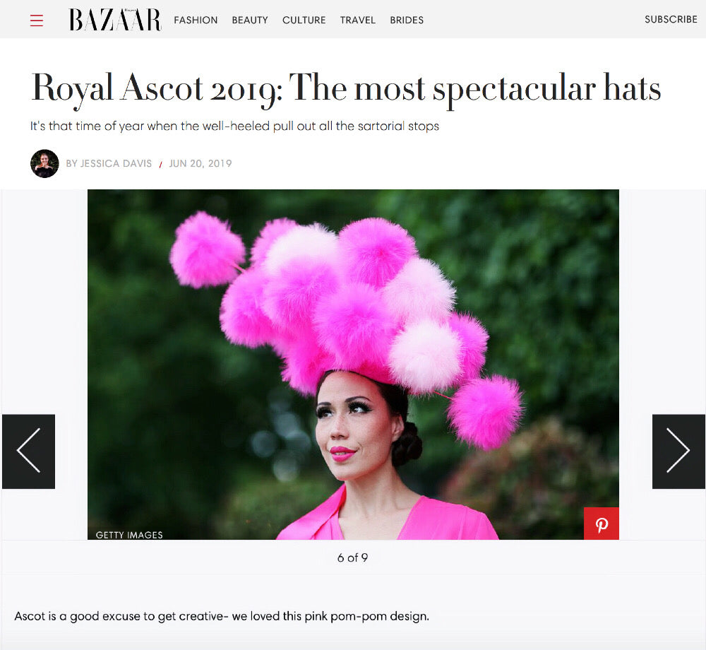 Royal Ascot 2019 Ladies Day Best Hat Pink Pompoms by YUAN LI LONDON MILLINERY