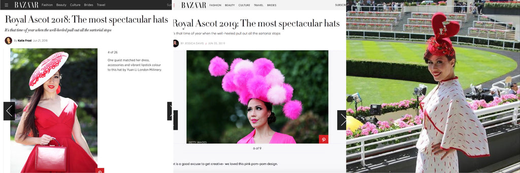 Heather Morris Royal Ascot Ladies Day 2015 2018 2019 Happer's Bazaar Yuan Li London Millinery