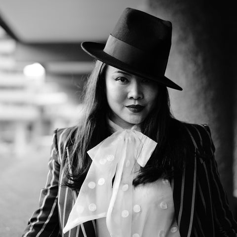 Dress like Marlene Dietrich AW19 Women's Tailoring Trend Modern Female Dandy Dandism Feminism and YUAN LI LONDON Millinery fedora Hat