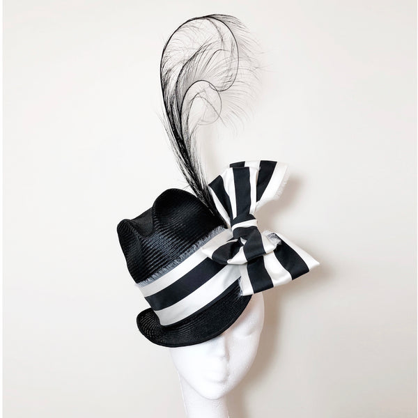 Katherine Black White Bow Summer Fedora Hat
