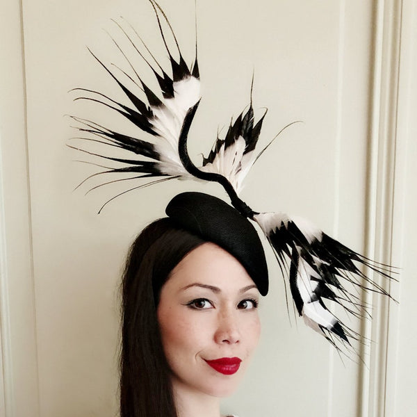 She Has Wings Black White Feather Fascinator