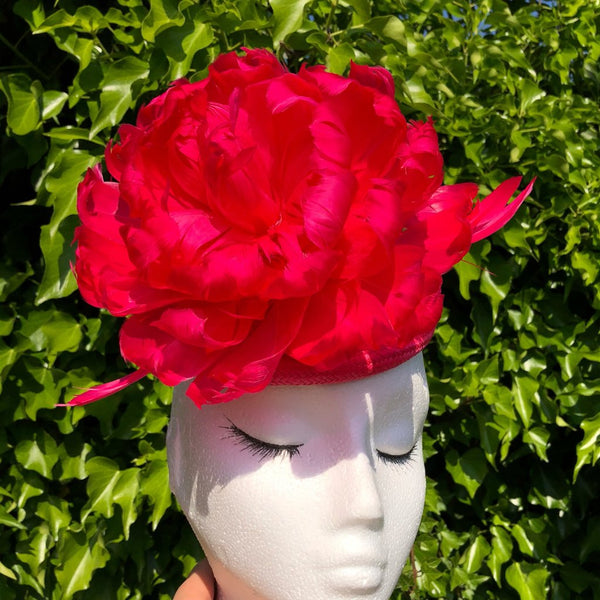 Bright Fuchsia Peony Feather Fascinator