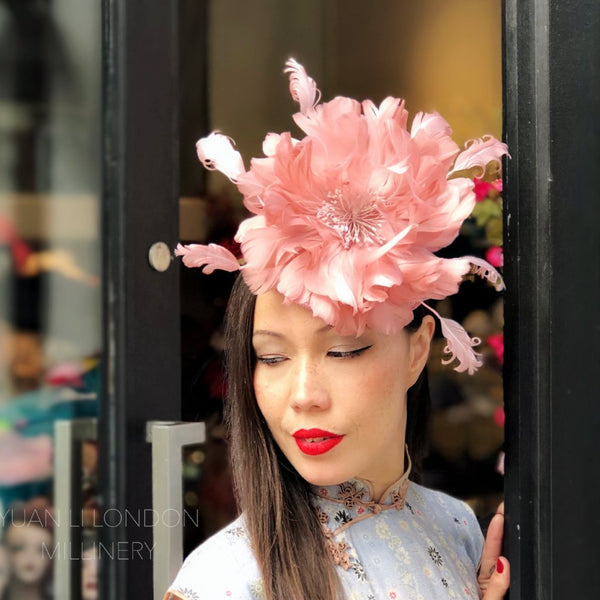 Ever So Gently Peony Feather Fascinator