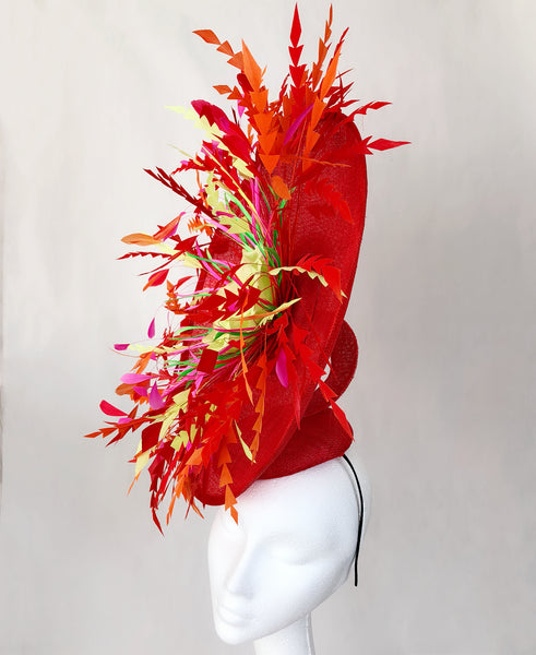 Red Firework Feather Fascinator