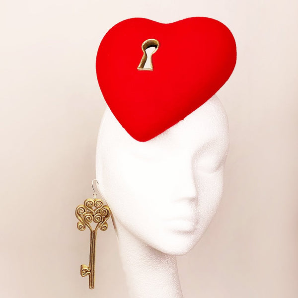 Love Lock Fascinator and Key Earring